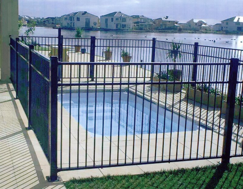 black aluminum pool fence